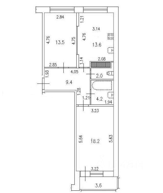 2-к.кв, 61.98 м²