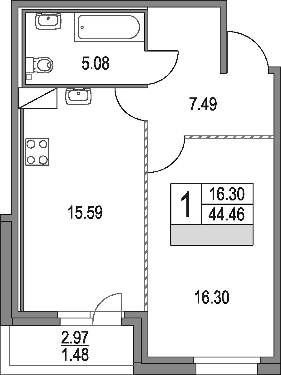 2Е-к.кв, 44.46 м²