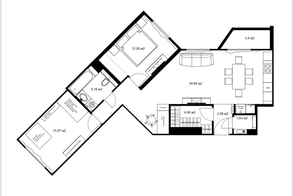 3Е-комнатная, 76.17 м²– 2