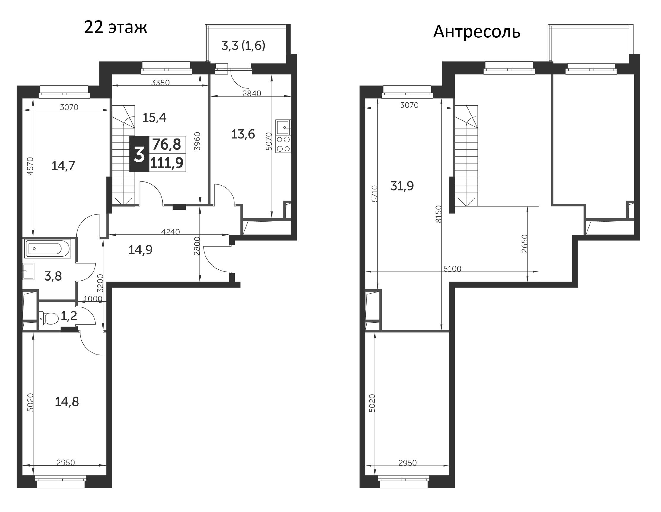 3-к.кв, 111.9 м²