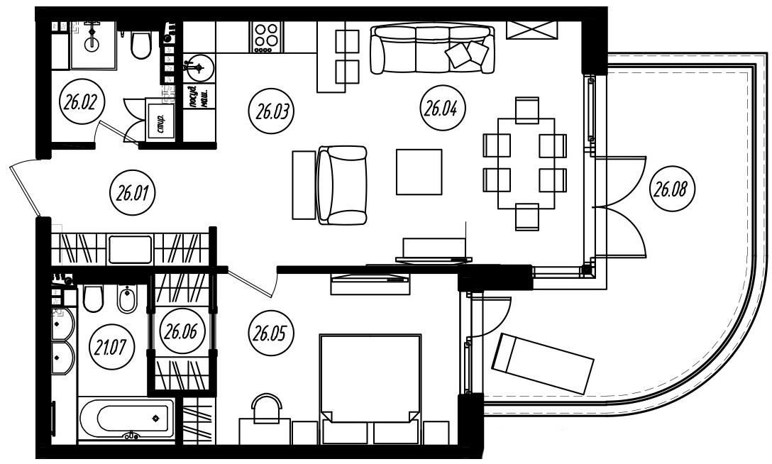 2Е-комнатная, 62.1 м²– 2