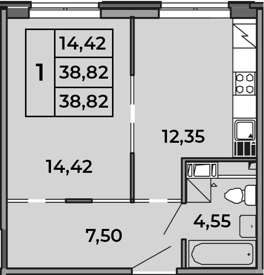 1-к.кв, 38.82 м², 4 этаж