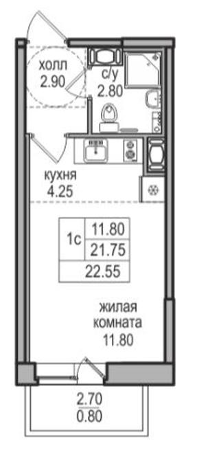 Студия, 21.75 м²
