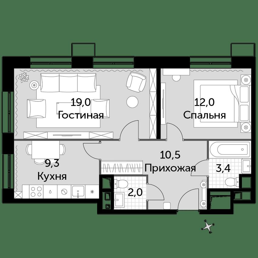 2-к.кв, 56.2 м², от 4 этажа