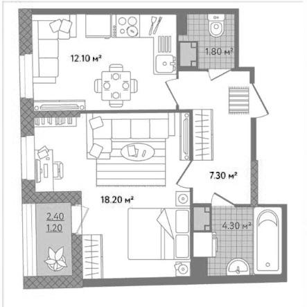 2Е-к.кв, 44.9 м²