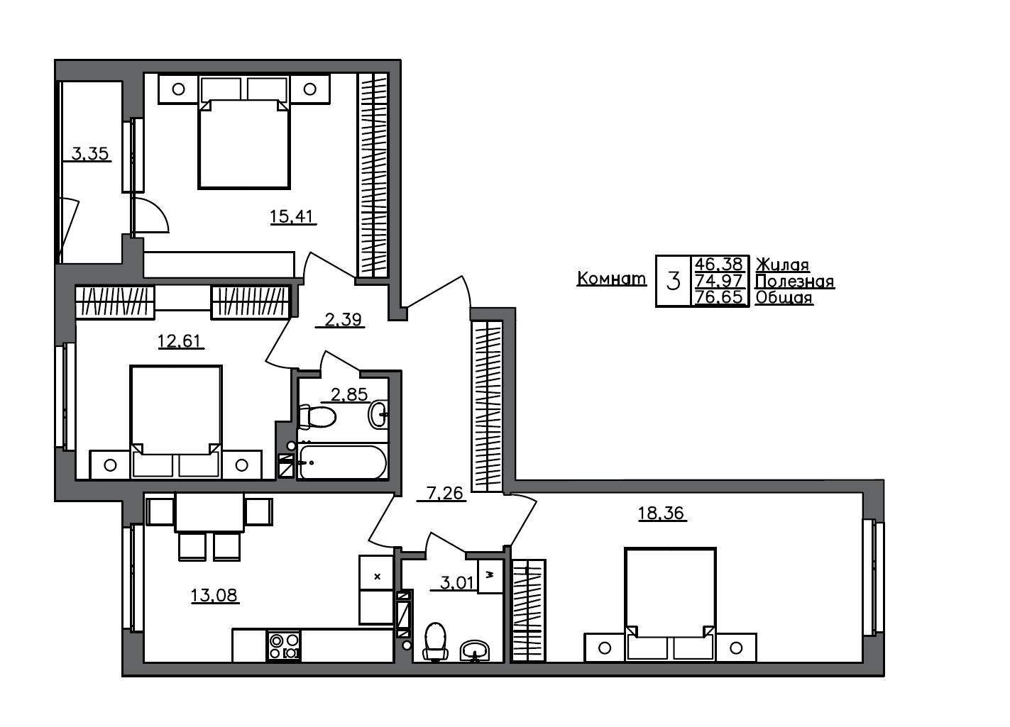 3-комнатная, 76.65 м²– 2