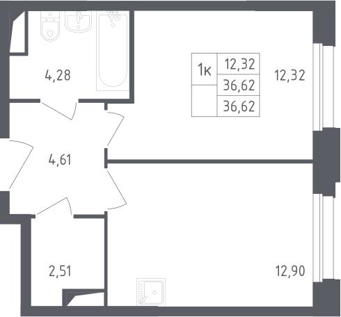 1-комнатная, 36.62 м²– 2