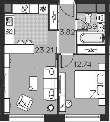 2Е-комнатная, 43.36 м²– 2