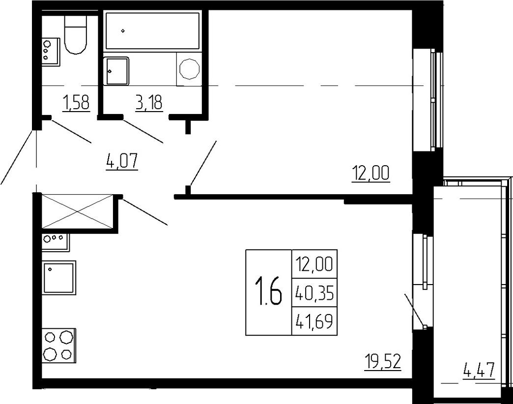 2Е-к.кв, 40.35 м², 2 этаж