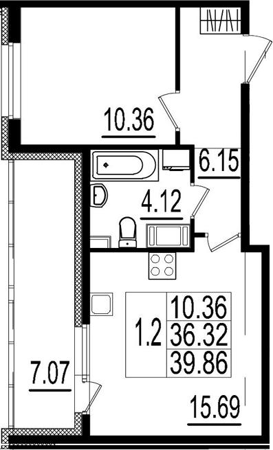 2Е-комнатная, 36.32 м²– 2
