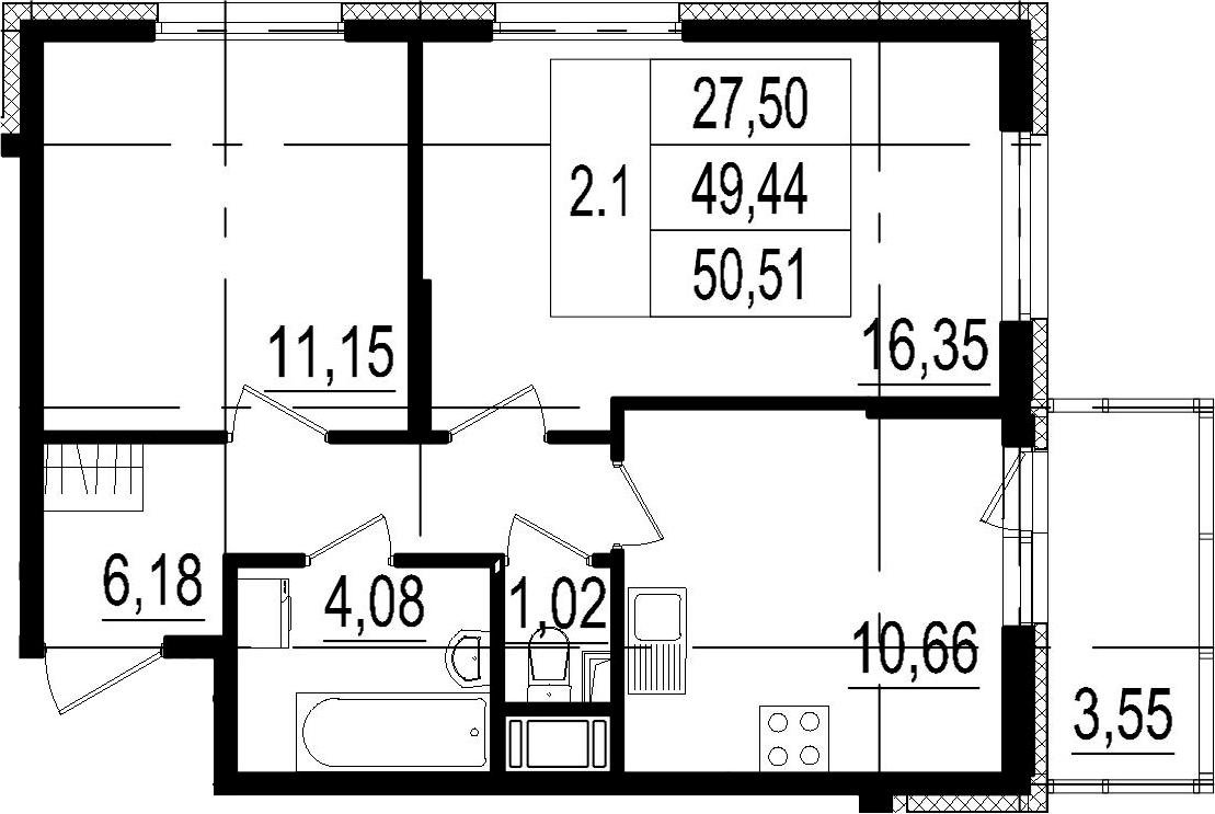 2-комнатная, 49.44 м²– 2
