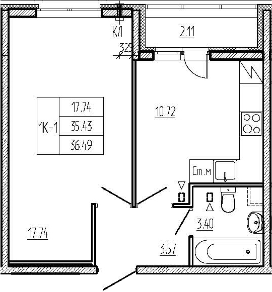 1-к.кв, 37.54 м²