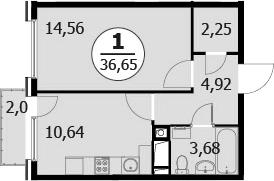 1-к.кв, 38.05 м²