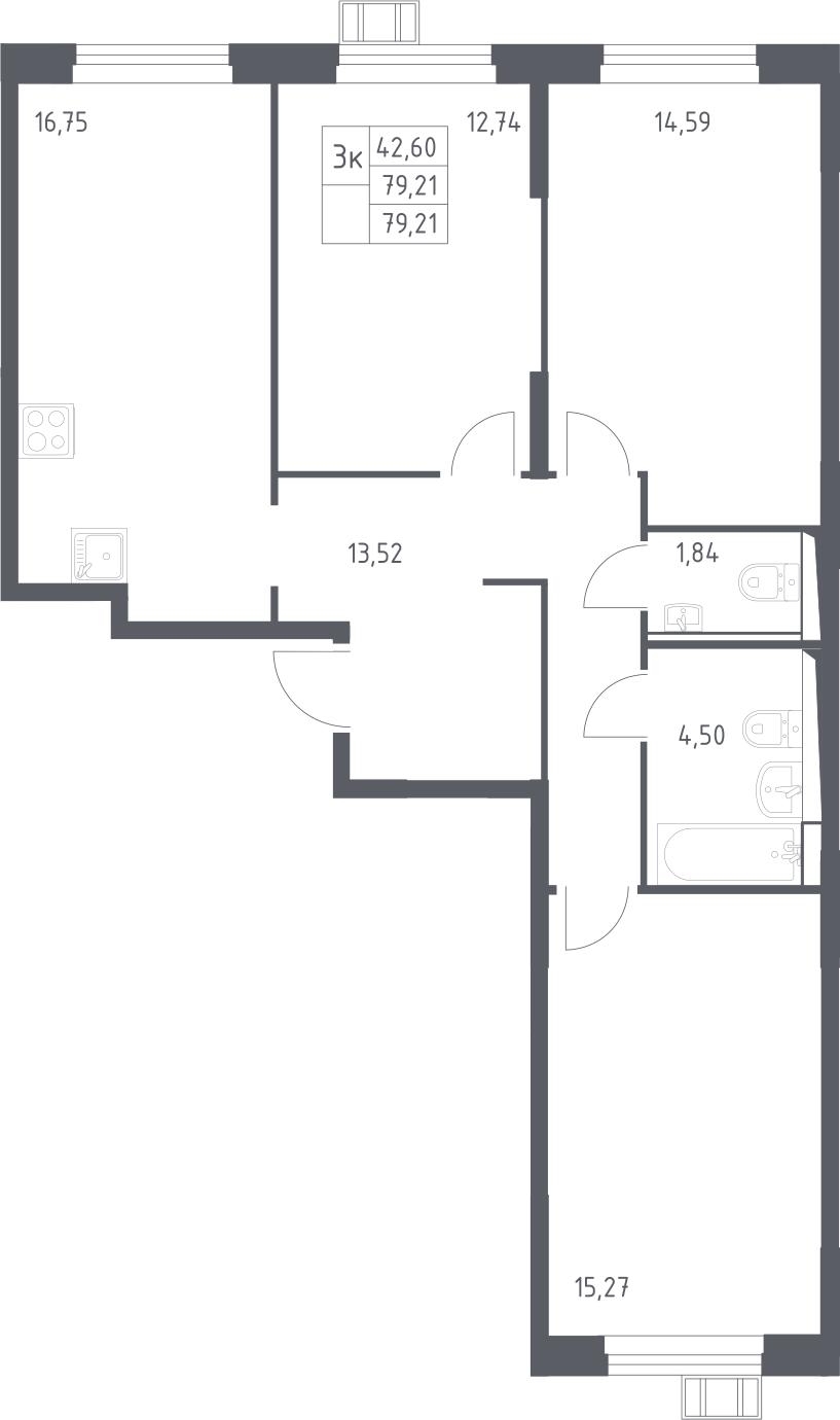 4Е-к.кв, 79.21 м², 2 этаж