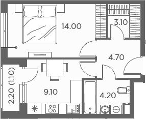 1-комнатная, 36.2 м²– 2