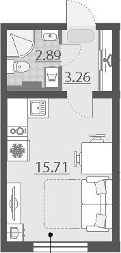 Студия, 21.86 м²