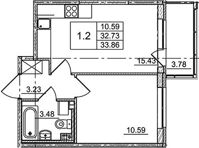 2Е-комнатная, 33.86 м²– 2