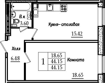 2-к.кв (евро), 44.15 м²
