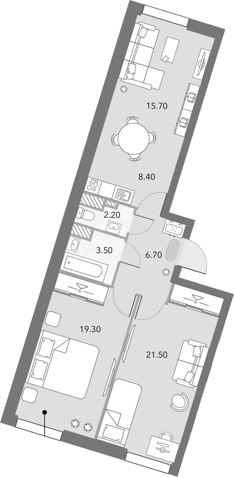 3Е-комнатная, 77.3 м²– 2