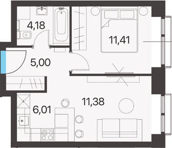 2Е-к.кв, 37.98 м², 15 этаж