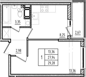 1-к.кв, 27.87 м²