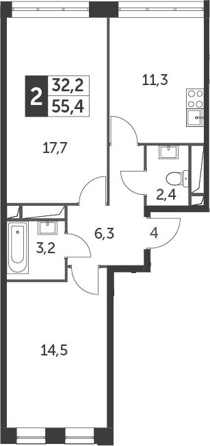 2-комнатная, 55.4 м²– 2