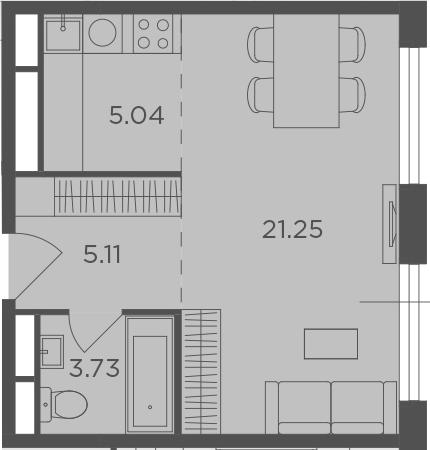 Студия, 35.13 м²– 2