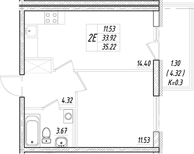 2Е-к.кв, 33.92 м²