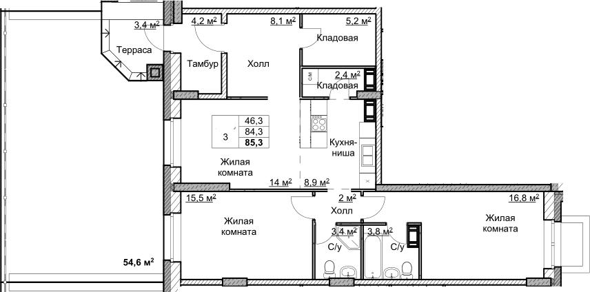 3Е-комнатная, 85.3 м²– 2