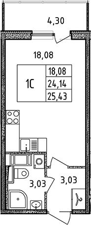Студия, 24.14 м²