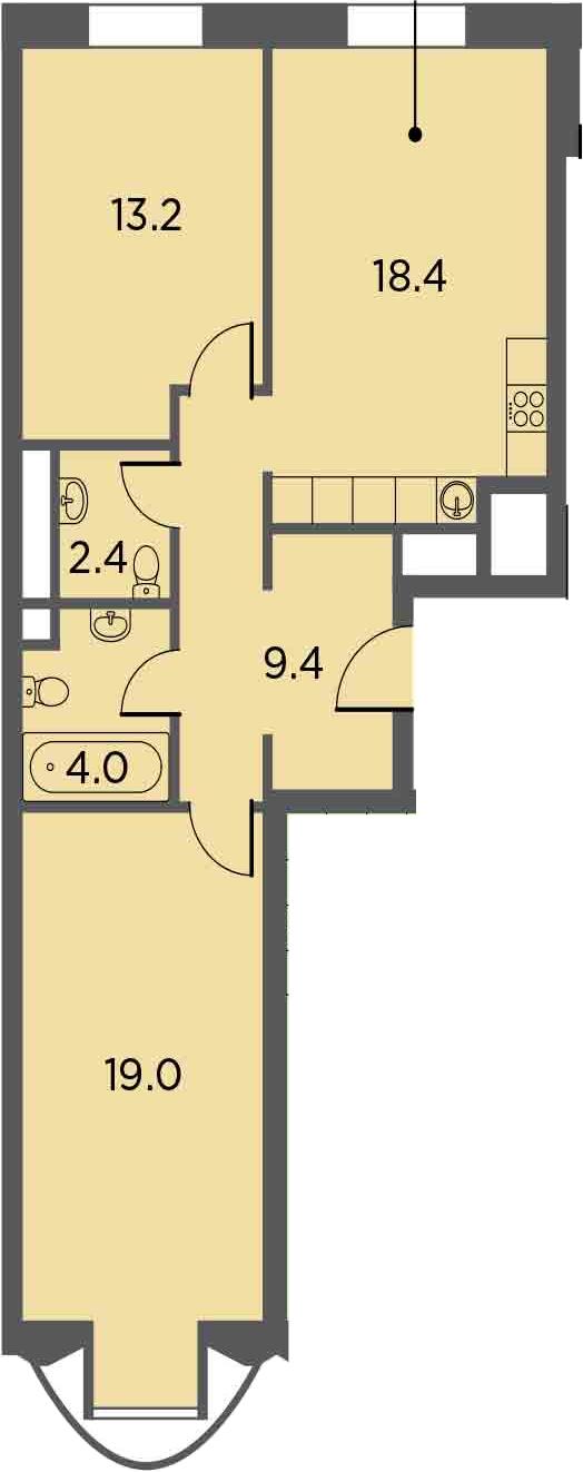 3Е-комнатная, 66.3 м²– 2