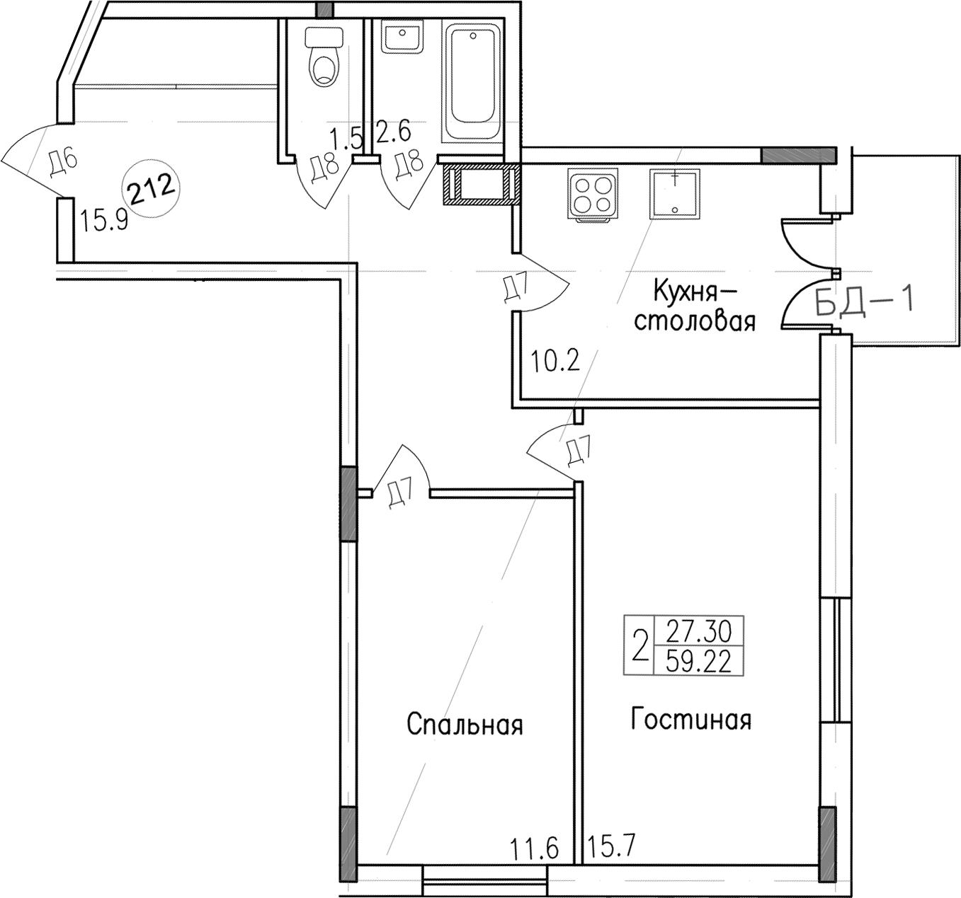 2-комнатная, 59.22 м²– 2