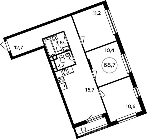 4-к.кв (евро), 70 м²