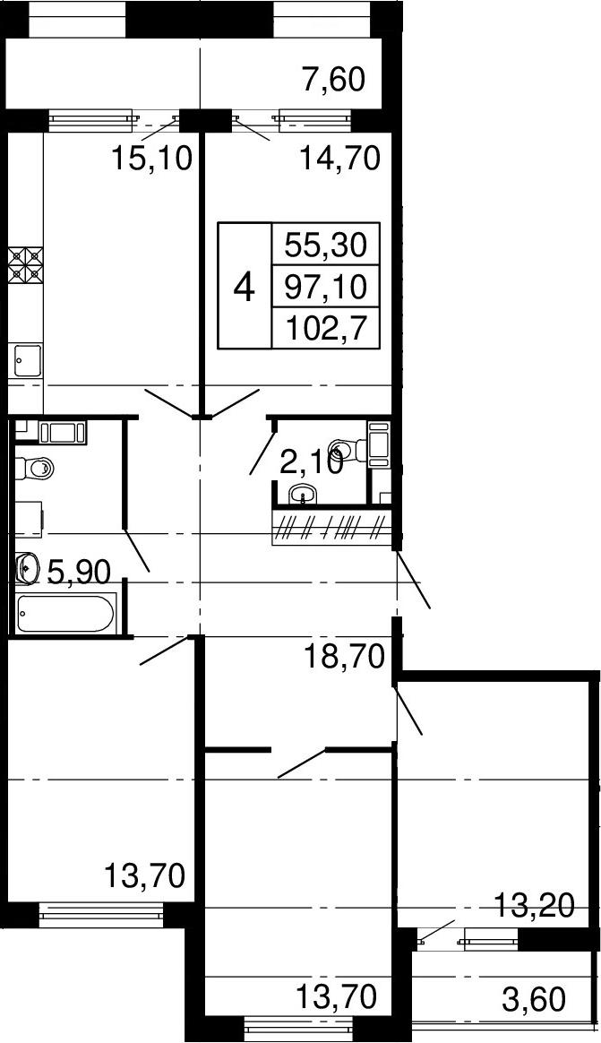 4-к.кв, 108.3 м²