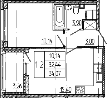 2Е-к.кв, 32.44 м², 1 этаж