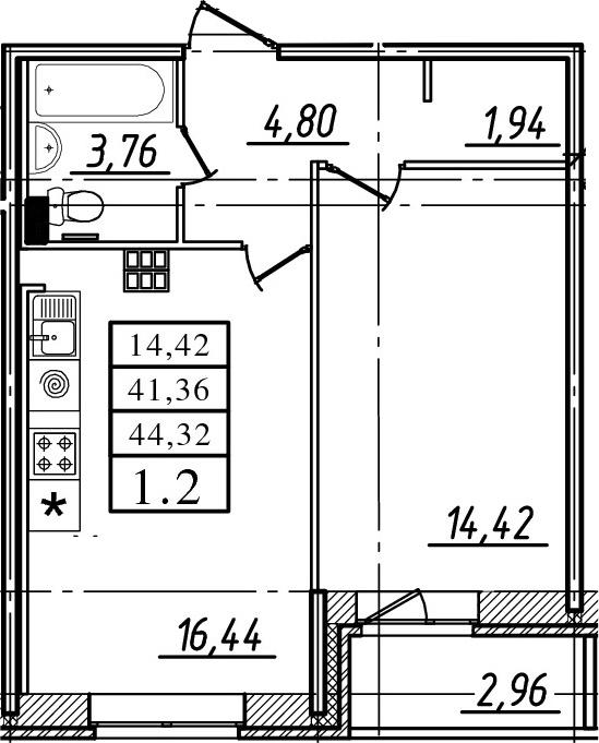 2Е-комнатная, 41.36 м²– 2