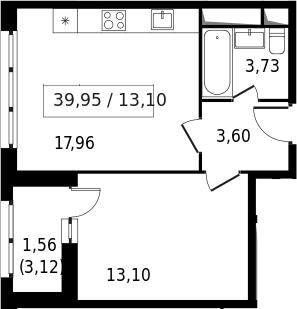 2-к.кв (евро), 41.51 м²