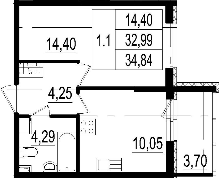 1-к.кв, 32.99 м²