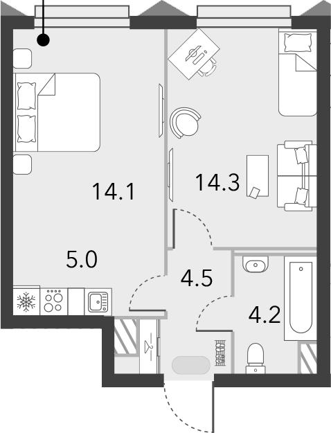 2Е-комнатная квартира, 42.1 м², 11 этаж – Планировка