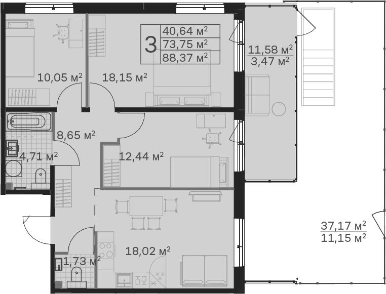 4Е-к.кв, 88.37 м²