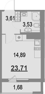 Студия, 25.39 м²