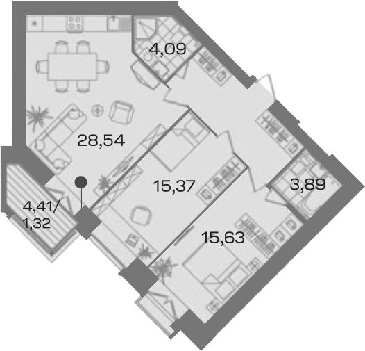 2-к.кв, 79.27 м²