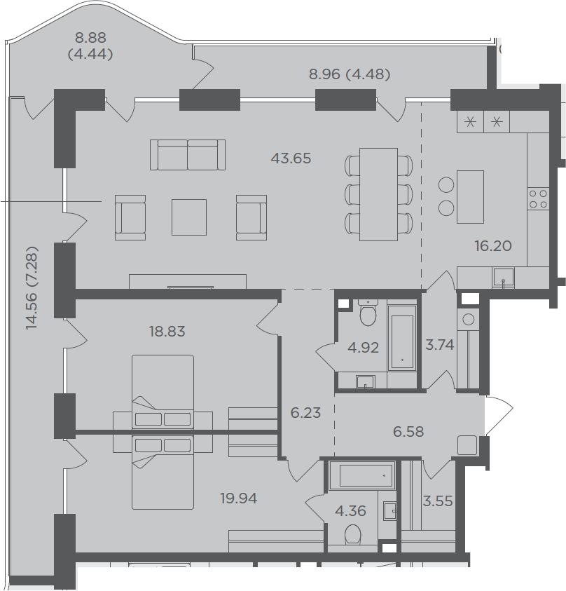 3-комнатная, 144.2 м²– 2