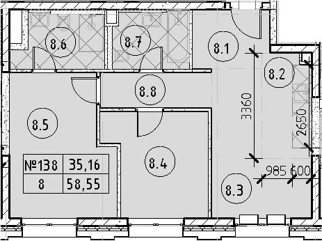 3Е-к.кв, 58.55 м²