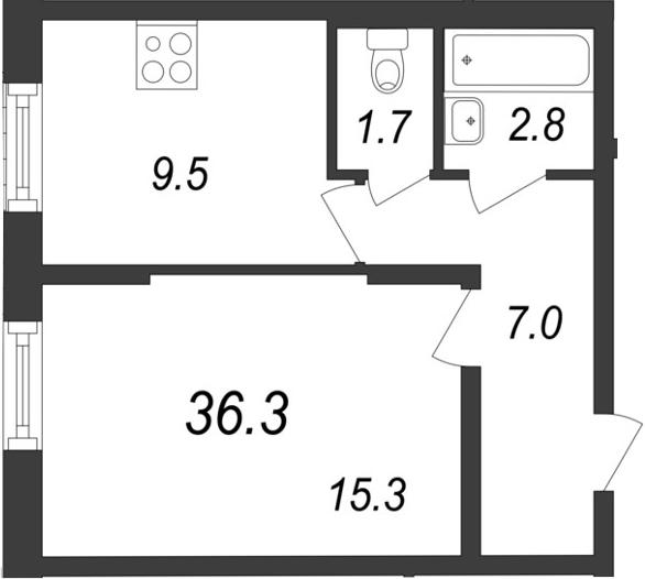 1-к.кв, 36.3 м²