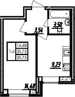 1-к.кв, 30.75 м²