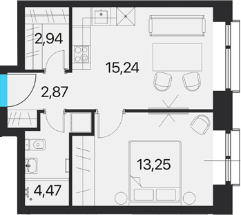 1-комнатная, 38.77 м²– 2
