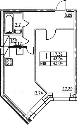 1-к.кв, 43.1 м²