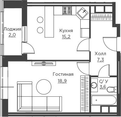 1-к.кв, 47 м²
