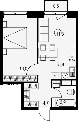 2Е-к.кв, 42.6 м², 12 этаж